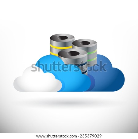 set of clouds and storage servers illustration design over a white background - stock photo