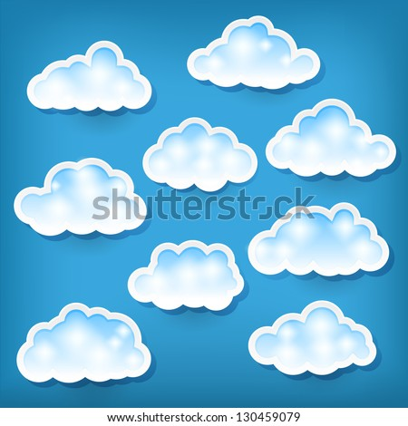 set of clouds on blue