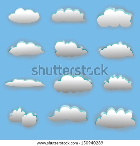 set of clouds on blue background