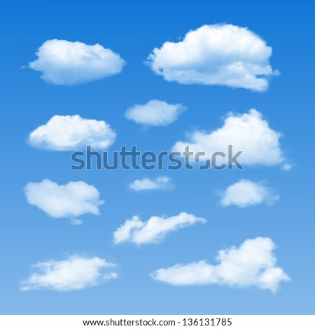 Set of Clouds on  blue sky. - stock photo