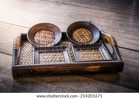 set of Coasters and Platemat on wooden background