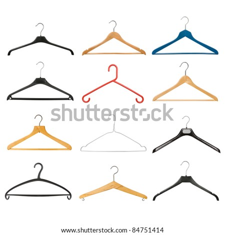 Set of coat hangers isolated on white background. Collection includes wooden, plastic, metallic, old, new, vintage, and modern coat hangers.