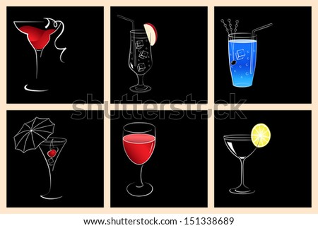 Set of cocktail glasses and wine glasses on black background. Raster version. - stock photo