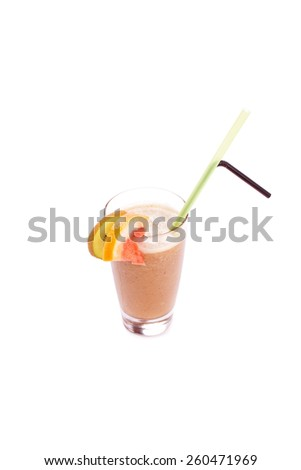 set of cocktails soft and long-drinks ind front of white background - stock photo