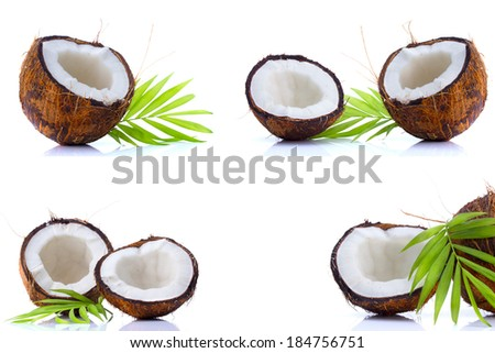 Set of coconuts with leaves isolated on white background - stock photo