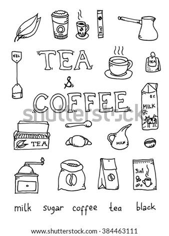 Set of coffee and tea - stock photo