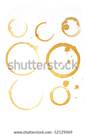 Set of coffee and tea cup stains isolated on white background