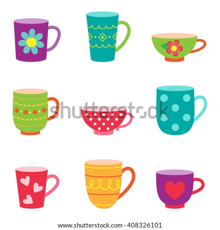 Set of coffee and tea cups - stock photo