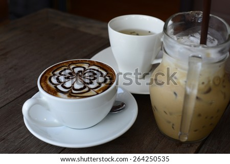 set of coffee break  ,cup of coffee on table . - stock photo