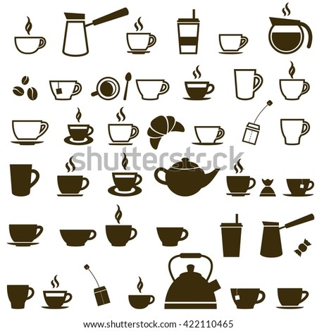 Set of Coffee cup and Tea cup icons. Raster version - stock photo