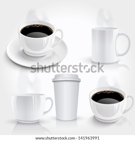 Set of coffee cups. Raster version - stock photo