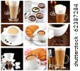 set of coffee drinks - stock photo