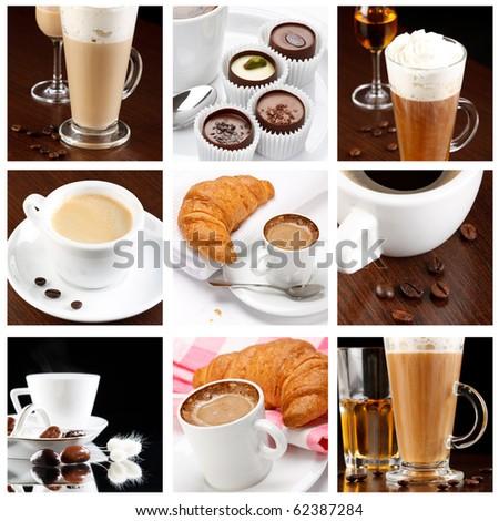 set of coffee drinks - stock photo
