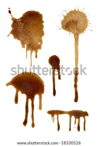 set of coffee splashes - stock photo