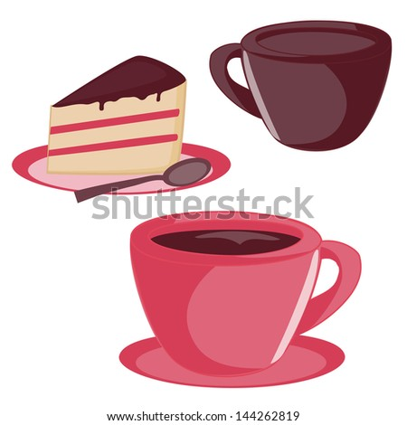 Set of coffee/tea cup and chocolate cake isolated on white. Raster version. - stock photo