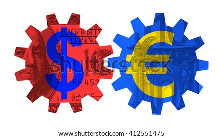 Set of cogwheels with symbol of Euro and US Dollar. Banknotes in the background. Metaphor of TTIP - transatlantic trade and investment partnership between USA and European Union - stock photo