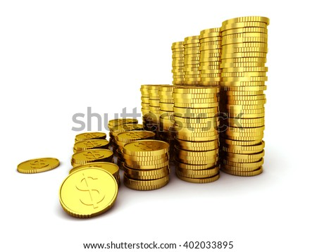 Set of Coins isolated on white background, 3d illustration. - stock photo