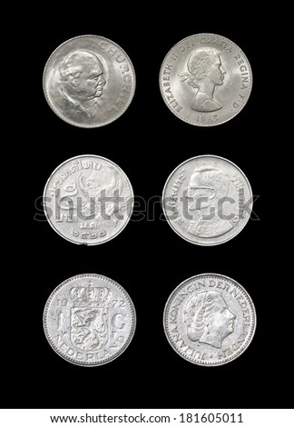 Set of coins of monarchical countries: Great Britain, Thailand, Netherlands