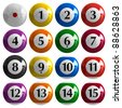 Set of color american billiard balls isolated on white background - stock vector