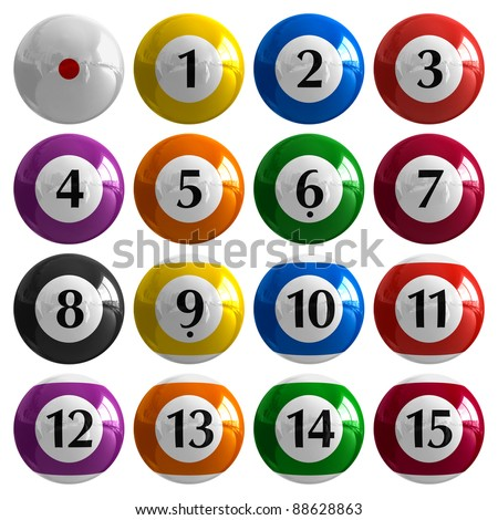 Set of color american billiard balls isolated on white background - stock photo