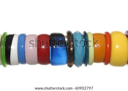 set of color bracelet isolated on white - stock photo