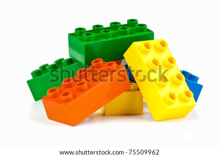 set  of color building blocks on white isolated background - stock photo