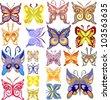 Set of Color Butterflies, Raster Version - stock