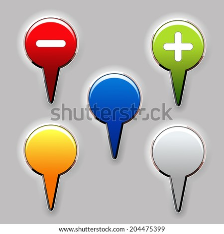 set of color buttons, map pointers - stock photo