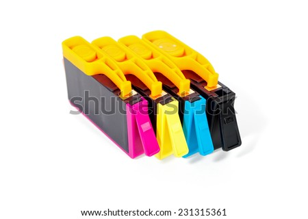Set of color cartridges for your printer, isolated on white - stock photo
