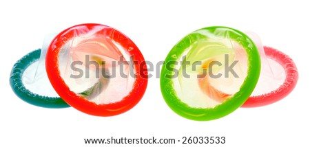 Set of Color Condoms isolated on white background - stock photo