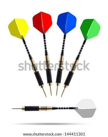 Set of color darts isolated on white background - stock photo
