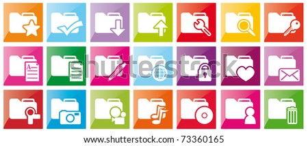 Set of color folder buttons, icons - stock photo