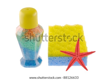 Set of color matched bath & spa objects - stock photo