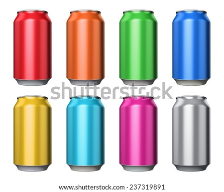 Set of color metal aluminum tin drink cans isolated on white background - stock photo