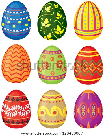 Set of color painted Easter eggs - stock photo