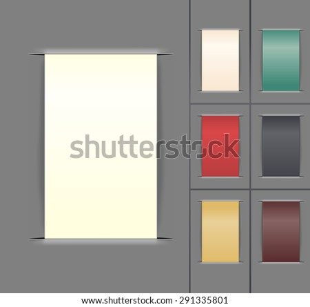 set of color paper labels. raster illustration - stock photo