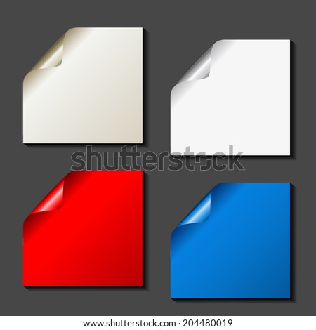 set of color papers - golden, white, red, blue - stock photo
