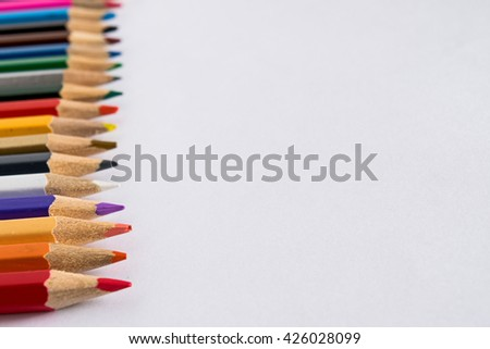 Set of color pencil isolated white background - stock photo
