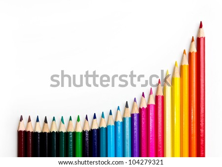 Set of color pencil showing a graph - stock photo
