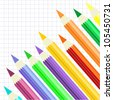 Set of Color Pencils, Angle View, Paper Background, Raster Version - stock photo