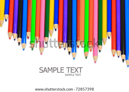 Set of color pencils. It is isolated on a white background