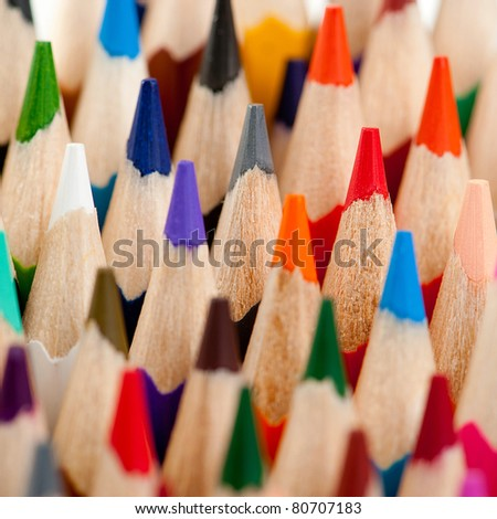 Set of color pencils.Photo close up. Background - stock photo