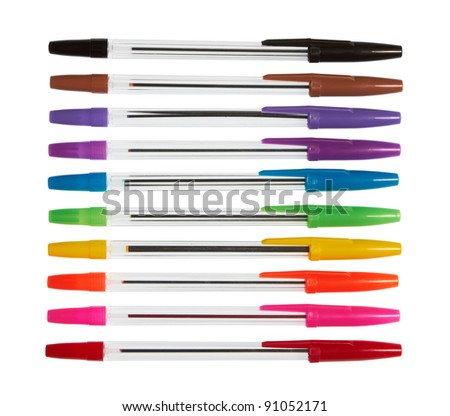 set of color plastic ball-point pens, isolated on white - stock photo