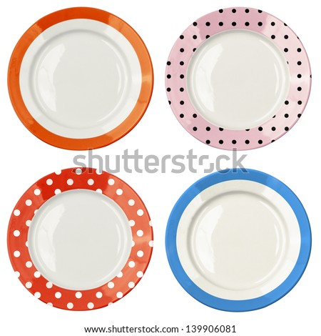 Set of color plates with polka dot pattern isolated on white - stock photo