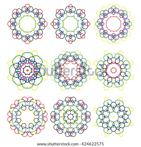 Set of color round elements. Mandalas collection. Round Ornament Pattern. . Hand drawn background, oriental motifs.
