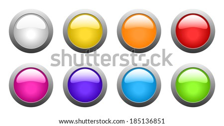 set of color rounded glass buttons (raster version, available as vector too) - stock photo