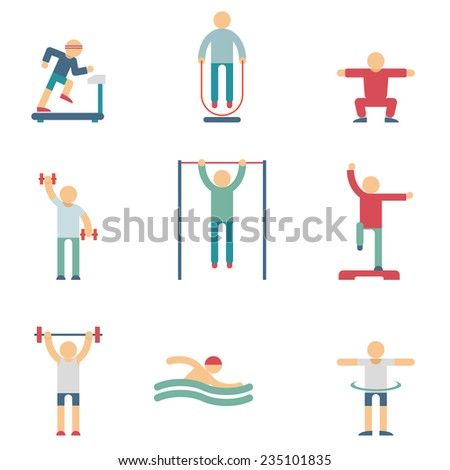 Set of color silhouettes of people performing fitness exercises on the white background - stock photo