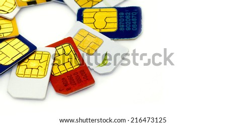 Set of color SIM cards isolated on white background - stock photo