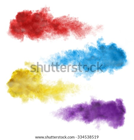 Set of color smoke explosions isolated on white background - stock photo