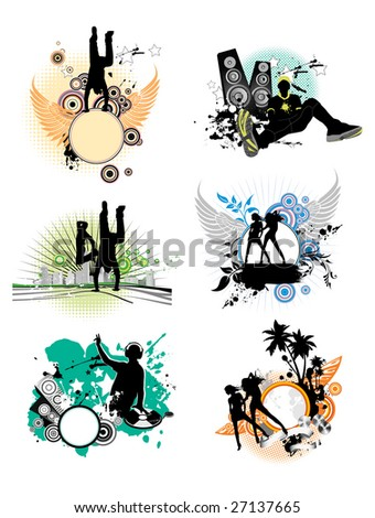 Set of color stain with silhouettes of the people. All elements and textures are individual objects. Raster version of vector illustration. - stock photo